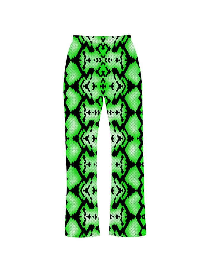 Cute Green Snake Skin Reptile Printed Loungewear Sleepwear Pyjama Bottoms Pants
