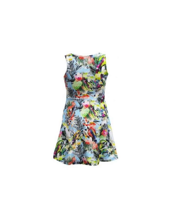 Exotic Tropical Birds Parrots Hawaii Print Girls Sleeveless Skater Dress