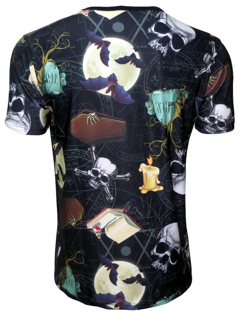 Gothic Bats On The Moon, Skulls, Pentagram Printed V-Neck TShirt Tee Top