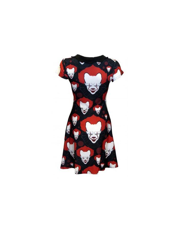 Scary Killer Clown Joker Evil Horror Halloween Print Bats Collar Skater Dress