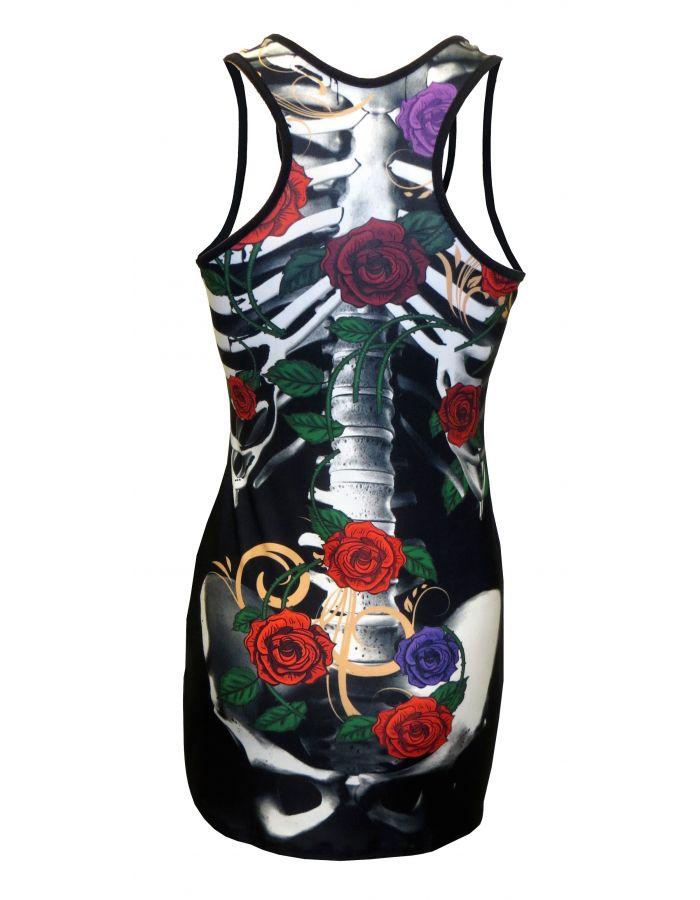 Floral Roses Skeleton Bones Ribcage Block Print Long Top Dress