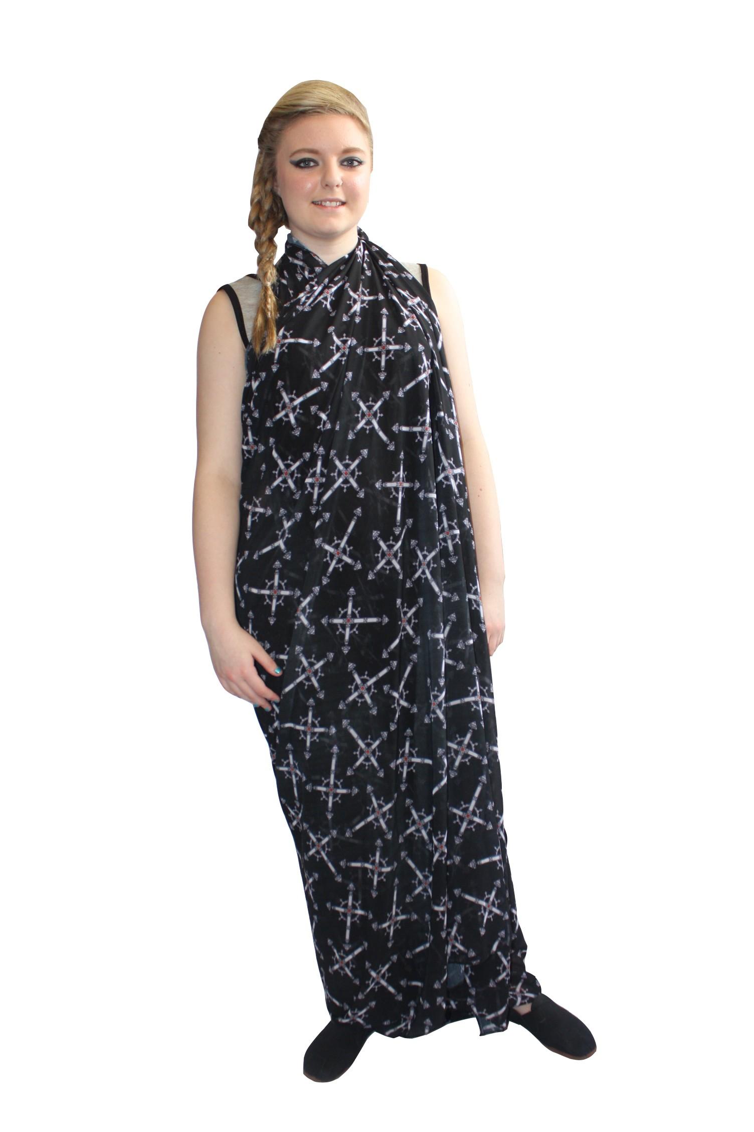 Women's Sheer Viccan Cross Print Silky Long Scarf