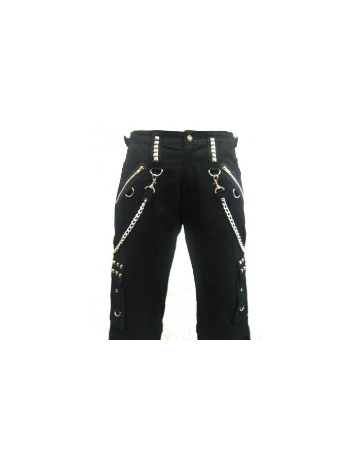 Men's Black Bondage Studs And Chains Baggy Skater Trousers Pants Goth Punk Emo