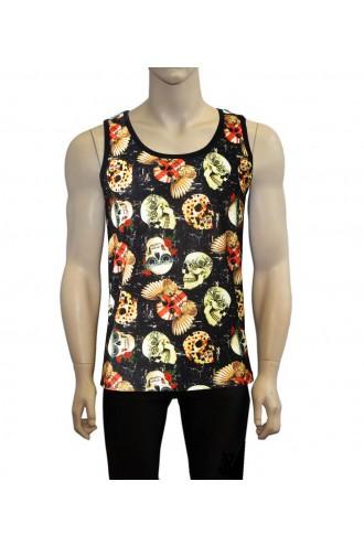Men's Gothic Vintage Skulls Floral Steampunk Union Jack Biker Printed Vest Top