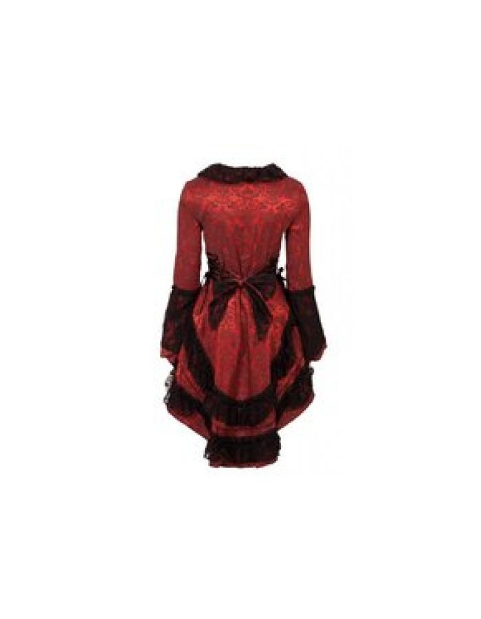 Red And Black Victorian Brocade Satin Damask Gothic Steampunk Lace Frock Jacket Coat