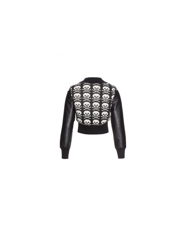 Black & White Knitted Skulls Zip Up Faux Leather Jacket