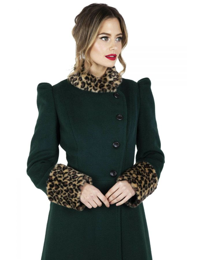 Leopard Vintage Retro Rockabilly 1950's 60's Faux Fur Jacket Coat