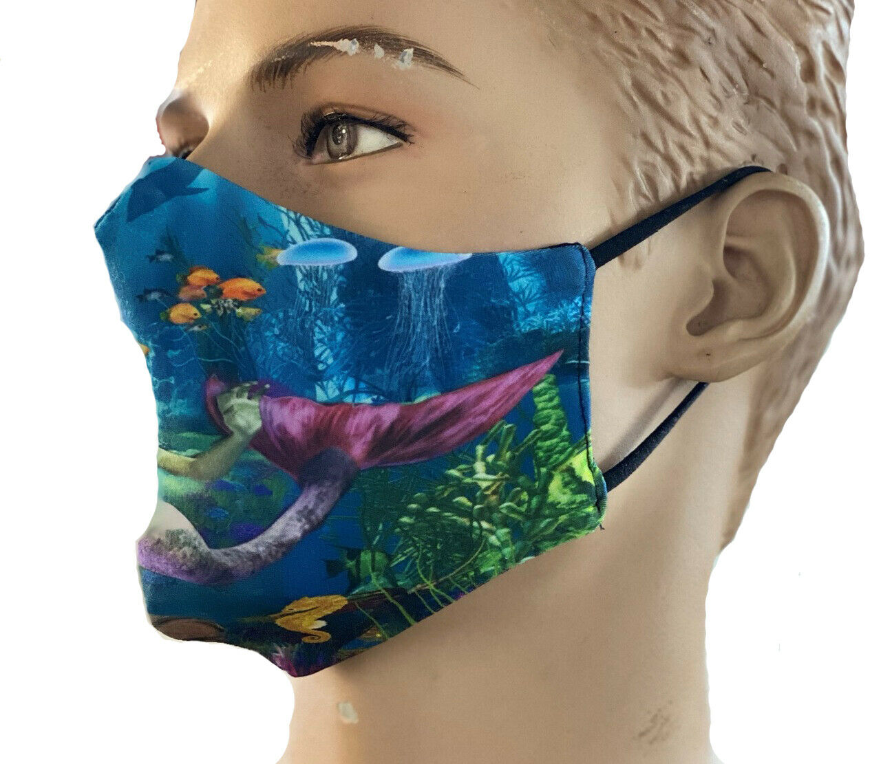 Mermaid And Creatures Of The Sea Underwater Printed Reusable Washable Face Covering Masks