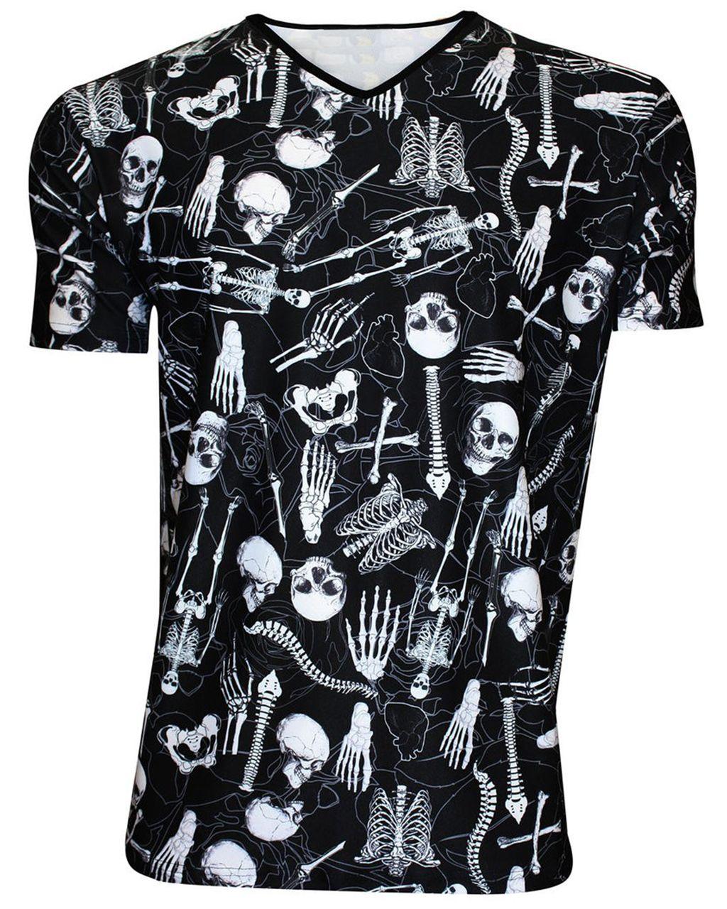 Men's Gothic Skeletons Skulls Bones Ribcage Heart Print V-Neck TShirt Tee