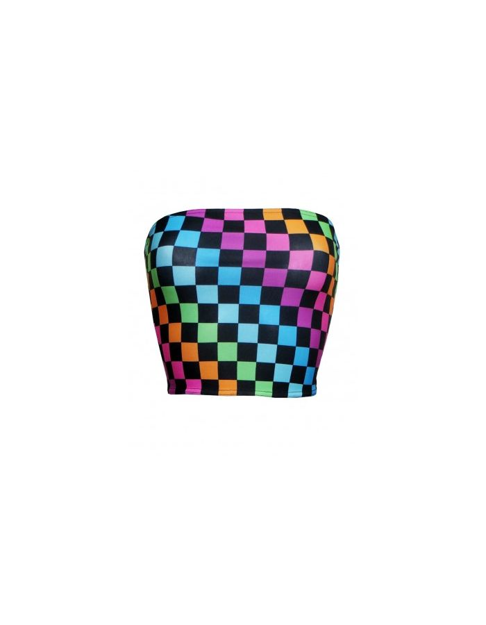 Rainbow Coloured Check Squares Print Crop Bandeau Top Leggings Coord Set