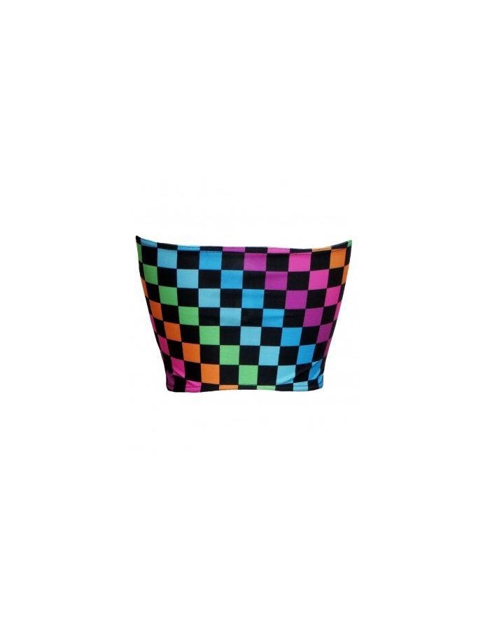 Rainbow Coloured Check Squares Print Crop Bandeau Top