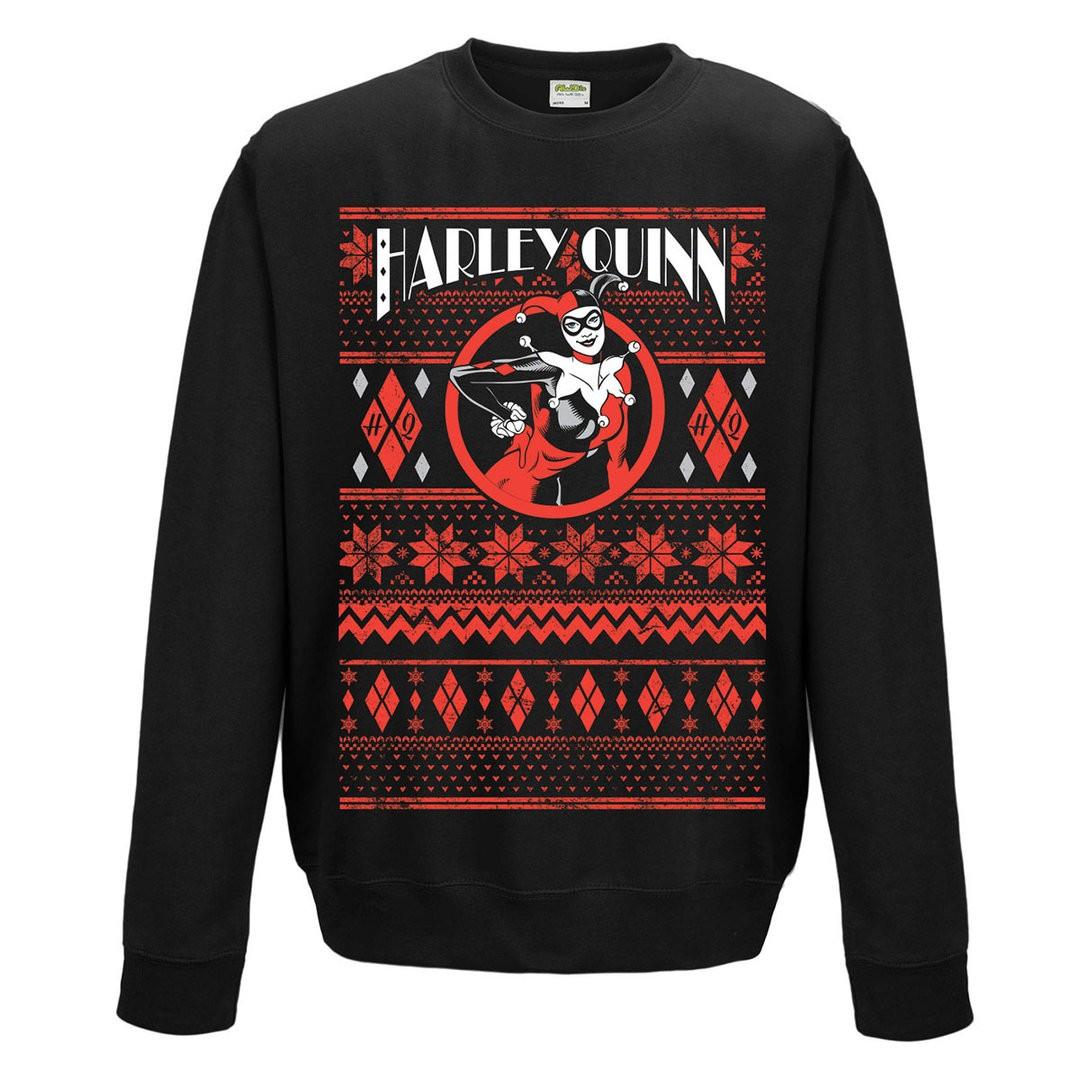 Official DC Comics Batman Harley Quinn Black Fair Isle Unisex Crew Neck Festive Sweater