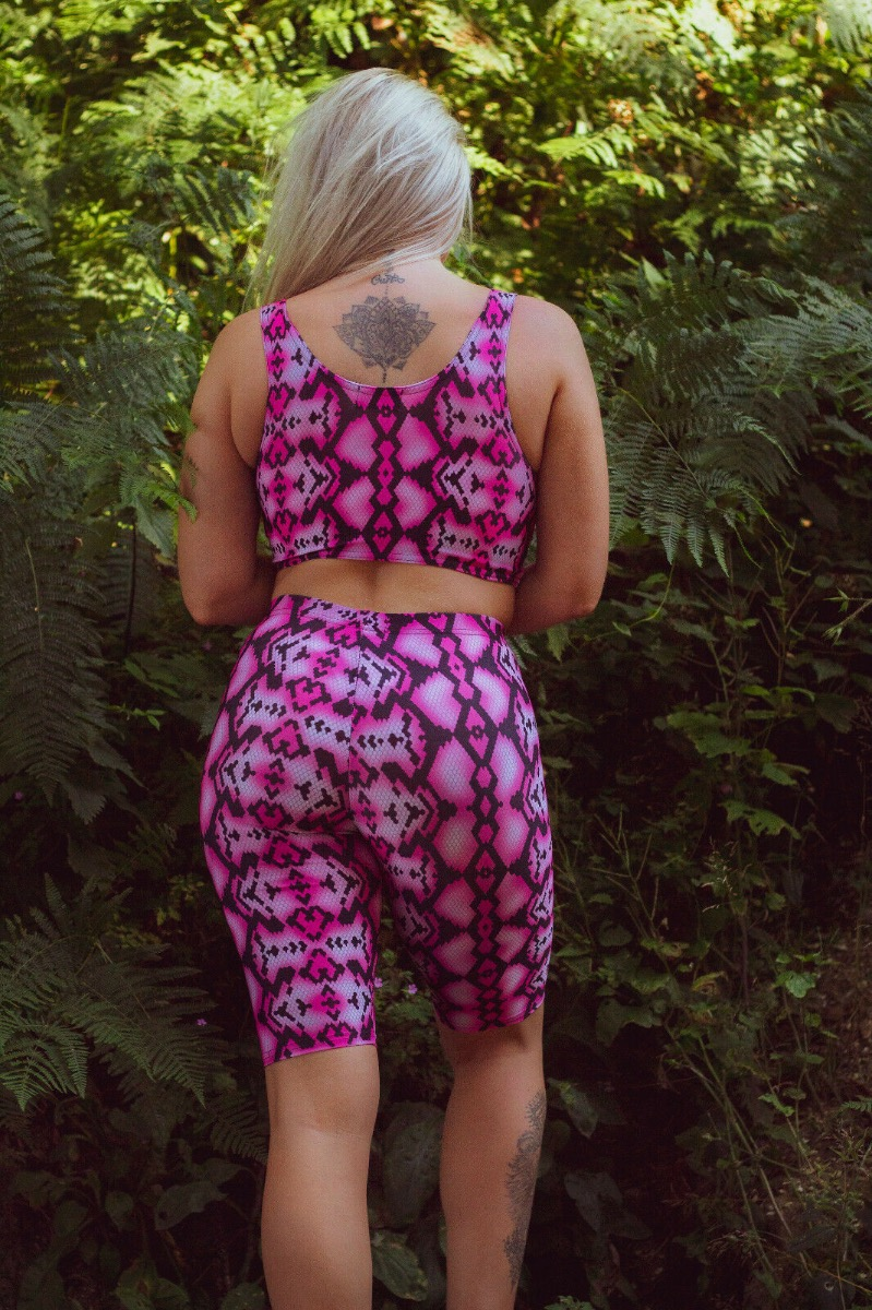 Cute Pink Snake Skin Reptile Printed Sleeveless Crop Top Cycle Shorts Coord Set