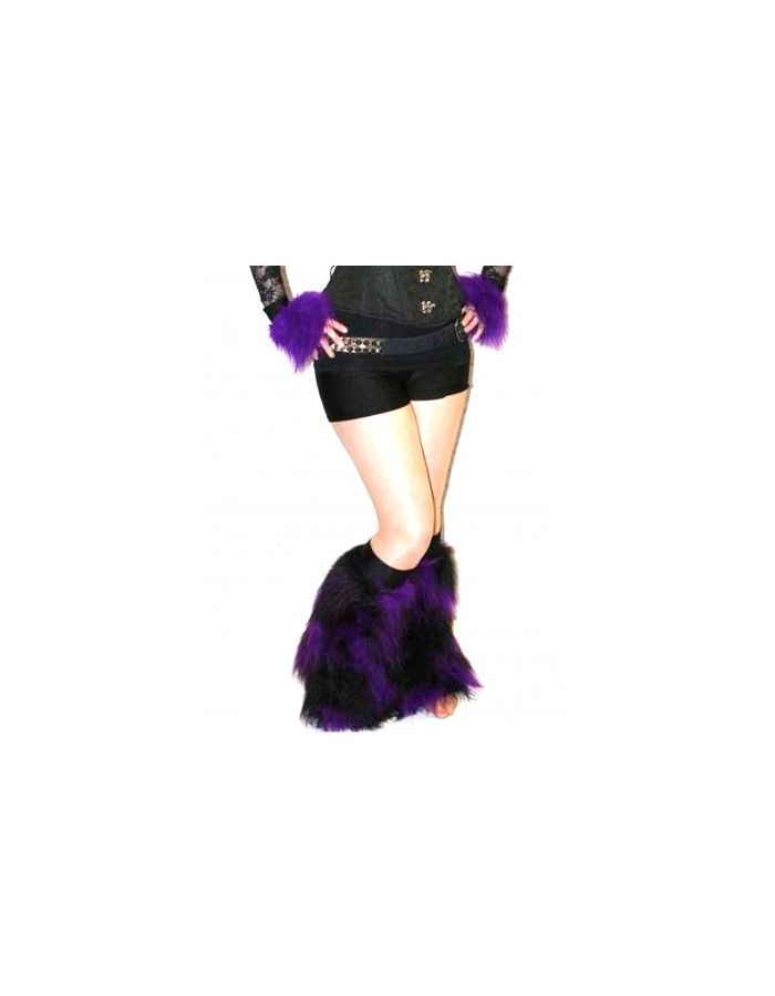 Purple And Black Neon UV Legwarmers/Boot Covers Fluffies Cyber Rave