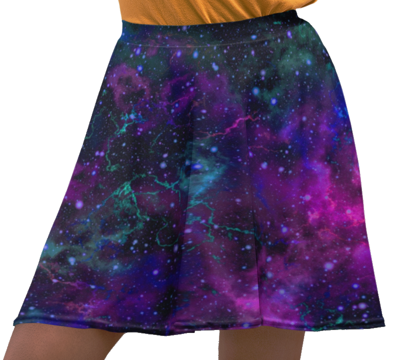 Galaxy Space Universe Stars Cosmos Planets Printed Skater Skirt