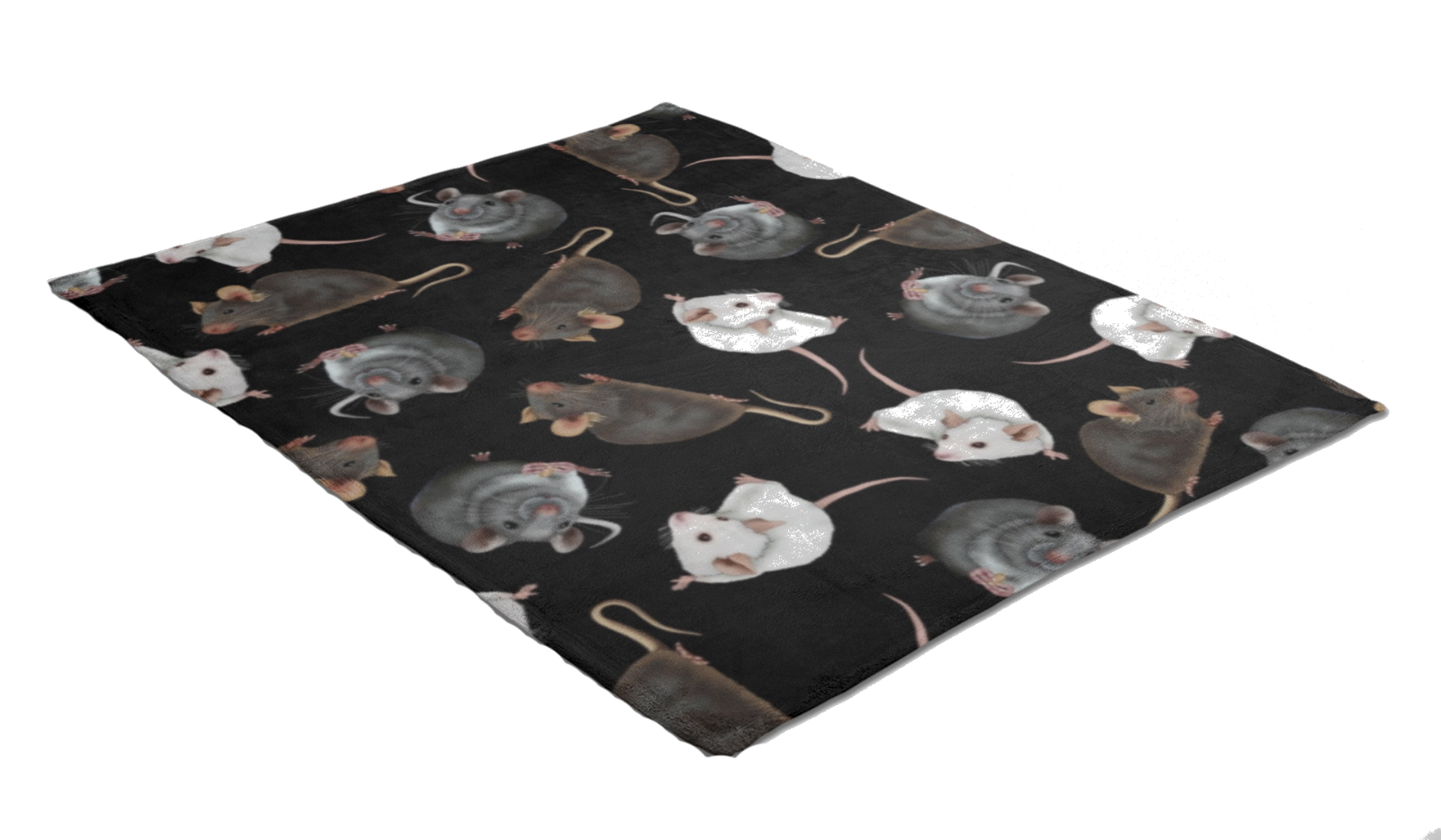 Cute Mouse Rats Digital Print Check Flames Throw Blanket