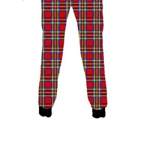 Unisex Red Tartan Classic Punk Fleece Printed Sweatpants Jogging Bottom