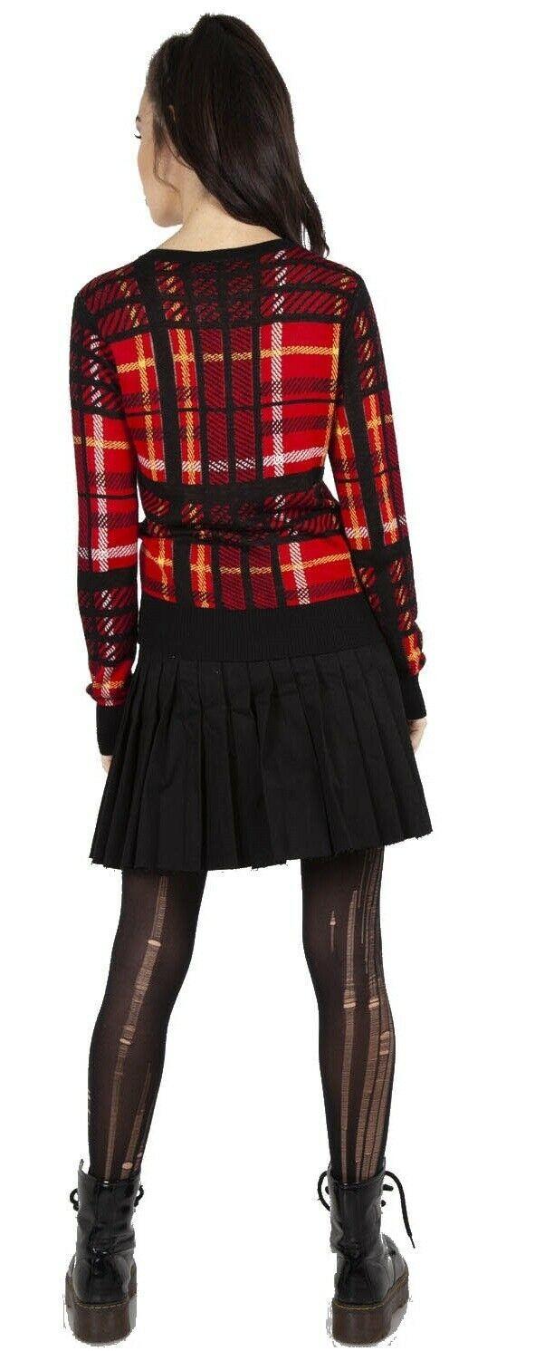Red Tartan Check Cropped Retro Rockabilly Knit Cardigan