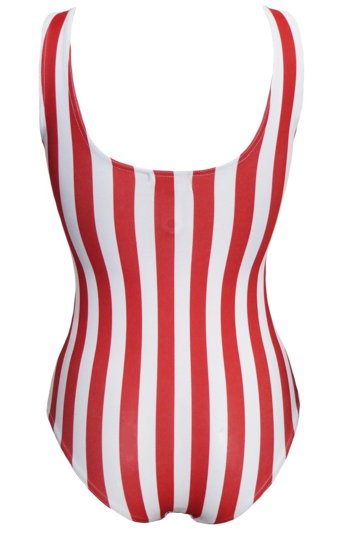Red And White Vertical Stripe Swimsuit Bodysuit