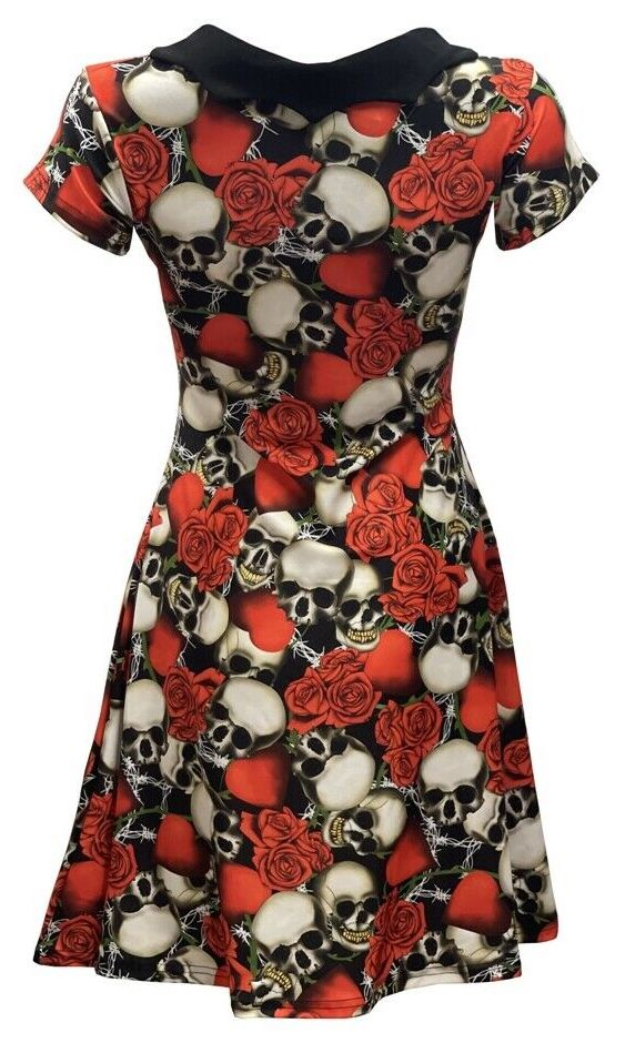 Half Skulls Roses Heart Wire All Over Printed Collar Dress