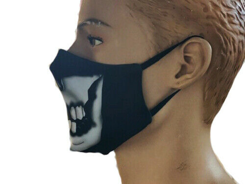 Half Skulls Bones Print Reusable Washable Face Covering Masks