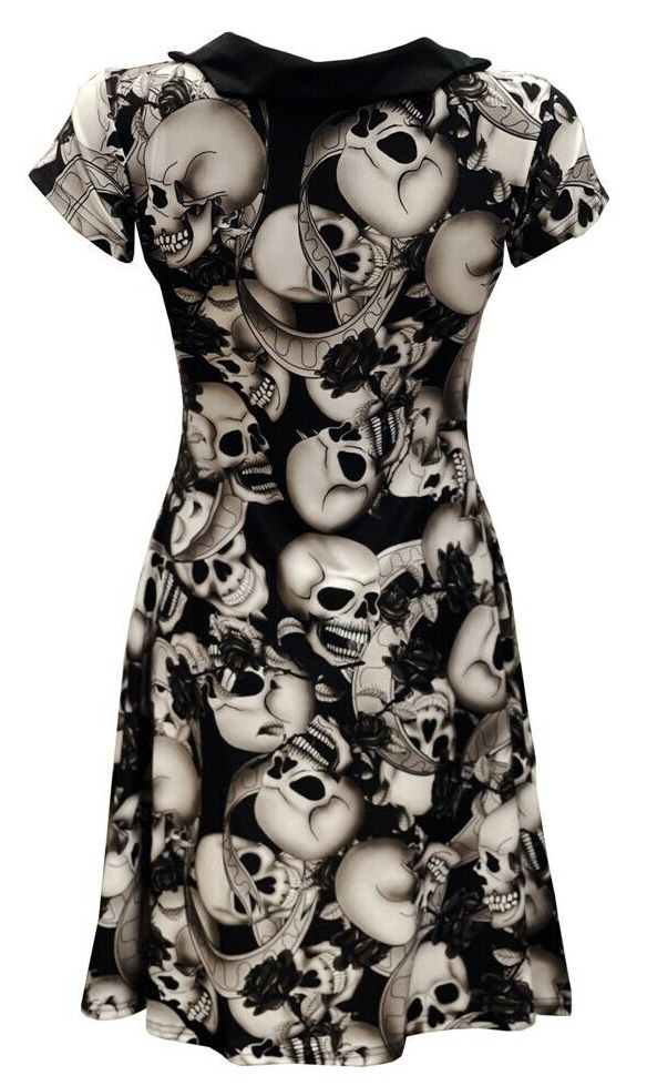 Skull Roses Floral Gothic Rockabilly Printed Collar Dress