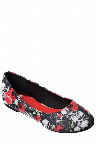 Roses Ella Flat Ballerina Pump Shoes