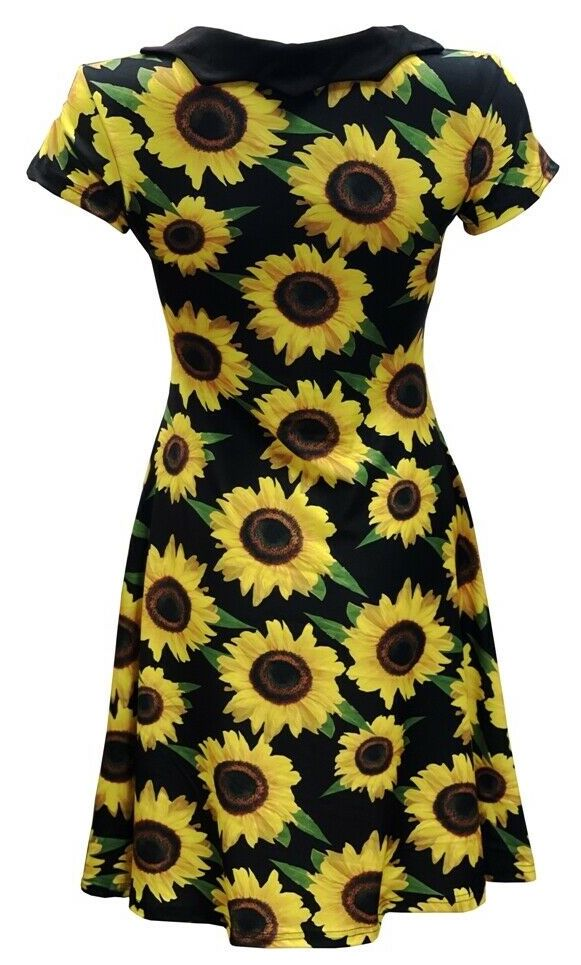 Gorgeous Sunflower Sunset Floral All Over Printed Collar Dress