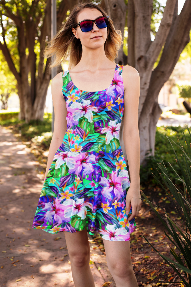 Tropical Floral Watercolour Exotic Palm Leaves Retro Vintage All Over Printed Fit & Flared Sleeveless Skater Dress