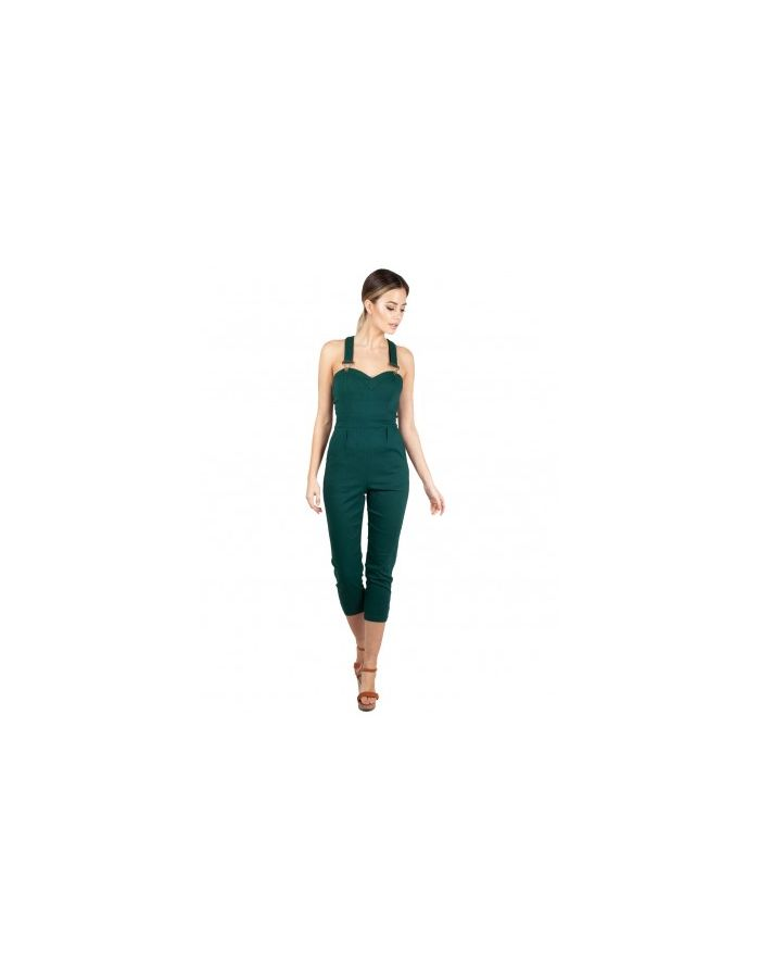 Dark Green Fitted Sweetheart Neck Capri Jumpsuit Style Overalls