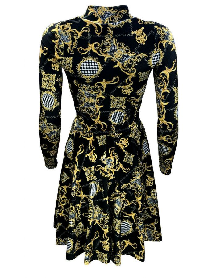 Vintage Gold Baroque Damask Paisley Monochrome Harlequin Velvet Velour High Neck Dress